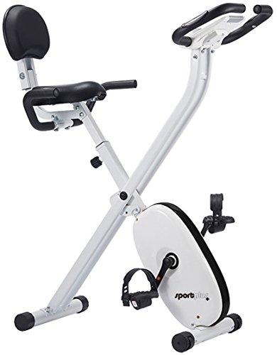 SportPlus klappbarer Hometrainer mit App-Steuerung, Google Street View, Komfortsattel, Rückenlehne, Handgriffe, 24 Widerstandsstufen, Handpulssensoren, faltbares X-Bike, Sicherheit geprüft