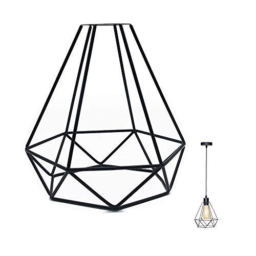 DeeCozy Lampenschirm,Vintage Käfig Lampenschirm Retro Metall Schmiedeeisen Lampenfassung DIY Leuchte Ersatz für Pendelleuchte Wandleuchte für Küchen Loft Flur Schlafzimmer Bar Café (Diamanttyp)