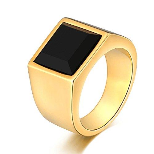 KnSam Anillo de titanio para hombre, cuadrado de acero inoxidable, anillo de sello para hombre, con circonita, plata con grabado gratuito, Acero inoxidable, Circonita cúbica.,