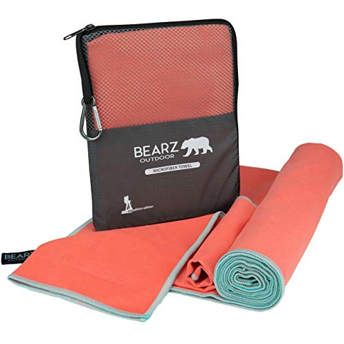 BEARZ Outdoor Microfiber Towel Set, 2 Pack Quick Dry Towel. Lightweight Travel Towel, Camping Towel. Fast Drying Gym Towel for Beach, Workout, Yoga, Backpacking (Living Coral)