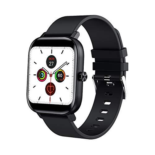 Smartwatch,IP67 Resistente Agua Reloj Inteligente Deportivo con Pulsómetro,Cronómeto,Reloj Actividad Smart Watch Vida Sedentaria,Pulseras de Actividad para Correr,Fitness,Caminar (Negro)