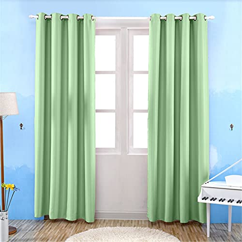 FACWAWF Modern Simple Solid Color Polyester Material Curtains Living Room Bedroom Balcony Study Room Full Blackout Curtains 100x250cm(2pcs)