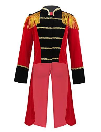 iiniim Kinder Jungen Zirkus Kostüm Gothic Frack Jacke Mantel Cosplay Zirkusdirektor Kostüm Fasching Karneval Party Festzug Rot 110-116