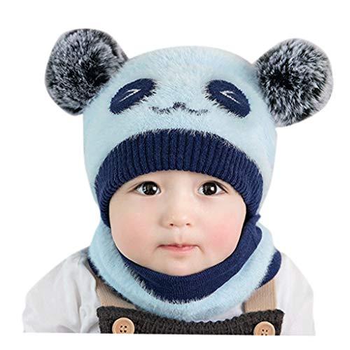 ECSWP MZWJTJKD 2 PCS Sombrero y Bufanda Set Cap y Chimenea Warm Knit Hat Boy Girl Hat Bufanda Accesorios de Invierno