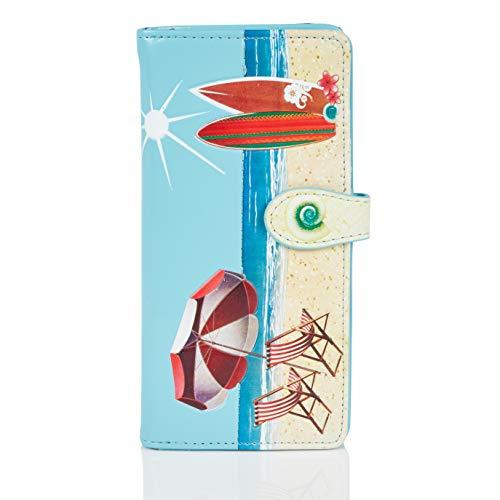 Shagwear ® Portemonnaie Geldbörse Damen Geldbeutel Mädchen Bifold Mehrfarbig Portmonee Designs: (Strand Postkarte Himmelblau/Beach Post Card)