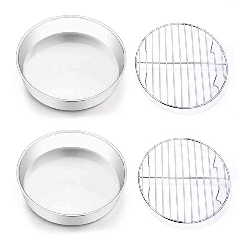 TeamFar 8 Inch Cake Pan and Rack Set of 4, Stainless Steel Round Tier Cake Pans, for Baking Cooling Steaming, Fit in Oven, Pot, Pressure Cooker, Healthy & Mirror Finish, Dishwasher Safe