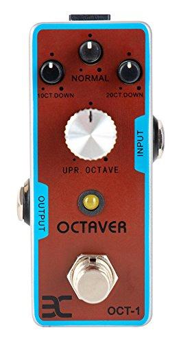 ENO TC-01 Octaver Effektpedal (Octaver im Stompbox-Format, oktaviert Signal um 1 bzw. 2 Oktaven nach unten, Fuzz-Effekt, robustes Metall-Gehäuse) Rot