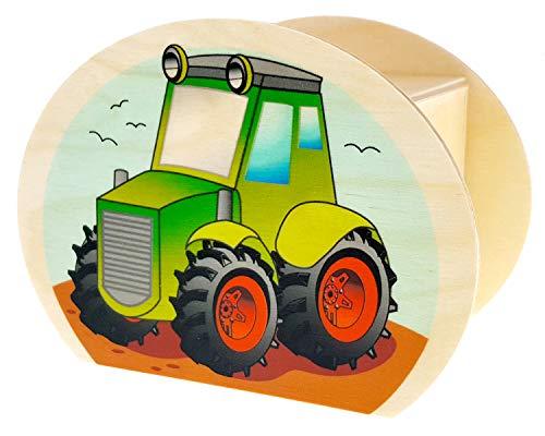 Hess Holzspielzeug 15227 - Spardose aus Holz mit Schlüssel, Traktor, Geschenk für Kinder zum Geburtstag, ca. 11,5 x 8,5 x 6,5 cm