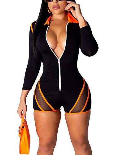 EOSIEDUR Women One Piece Outfits Tracksuit Jumpsuits Striped Sexy Bodycon Clubwear Jumpsuit Sets, Orange X-Large