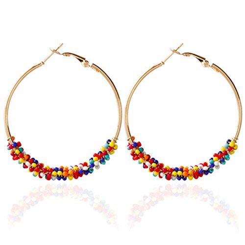 #N/A Rlmobes - Pendientes de aro redondos con cuentas de colores para mujer