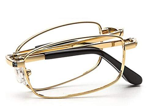 YUN&DSC Gafas de lectura plegables antiazul de titanio puro, elegantes y cómodas, viejas gafas de luz, espejo viejo ultra ligero (unisex) (color: plata, tamaño: 3X)