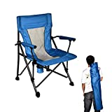 B BAIJIAWEI Folding Camping Chair - Portable Lawn Chair with Hard Armrest, Cup Holder, Carry Bag - Heavy Duty Camping Chair for Fishing, Hiking, Travelling, Picnic, BBQ