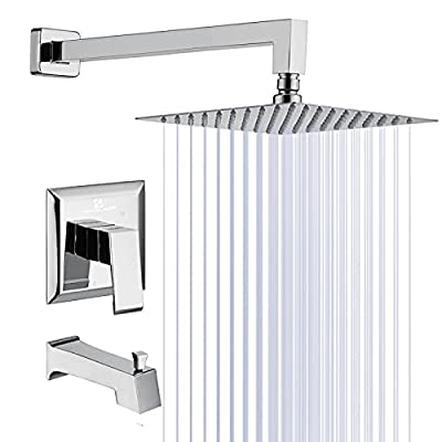 HOMELODY Shower Faucet Set Complete with Bathtub Faucet, 8 inches Rain Showerhead, High-purity Brass Pressure Balance Valve included Wall Mounted Rainfall Showerhead Combo Set Chrome, Stainless Steel