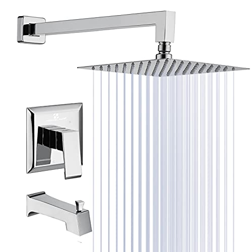 HOMELODY Shower Faucet with Bathtub 8 Inches Rain Shower Head Pressure Balance Valve Body Shower Set Bathtub Faucet Set with Wall Mouted Rainfall Shower Head Stainless Steel Rain Combo Set Chrome