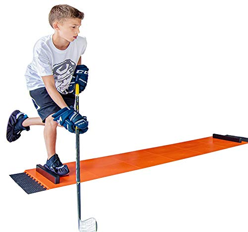 Hockey Revolution Adjustable Sliding Board - Indoor and Outdoor Training Tiles with Stoppers, Booties, Rubber Mat & App - Compact & Portable Shooting and Pass Practice Equipment - My Slide Board Lit