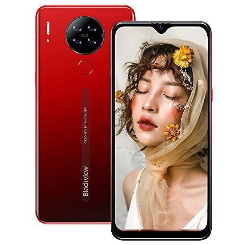 Smartphone Libre 4G, Blackview A80 6.21' HD+ Pantalla con Cámara Cuádruple 13MP, 16GB ROM, 128GB SD Batería 4200mAh Android 10 GO Teléfono Móvil Barato Dual SIM - Huella Digital/Face ID/GPS/FM (Rojo)