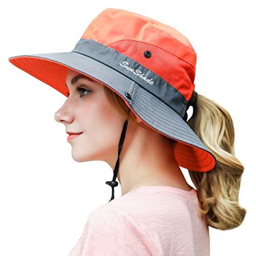 Women Outdoor Sun Hat UV Protection Wide Brim Mesh Foldable Safari Beach Fishing Bucket Cap Orange