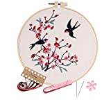 Full range embroidery kits for beginners stamped embroidery kit includes embroidery cloth with pattern embroidery hoop instruction color embroidery floss threads set and needles (Kit-08)