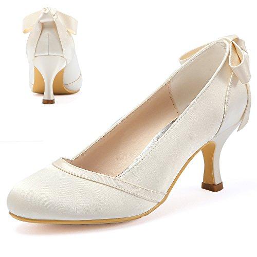 ElegantPark HC1804 Zapatos Cerrados de tacón Medio para Mujer con Punta en...