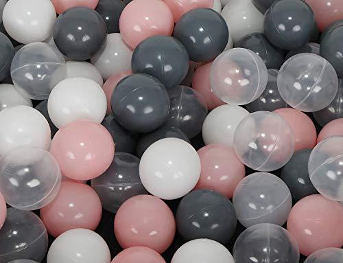MALATEC Kinder Bälle für Bällebad Ø7cm Plastikbälle Spielbälle für Kinder Ballpool 200 Stück DREI Farben 9274 , Farbe:Grau-Rosa