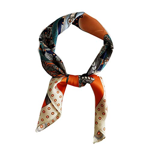 FONYVE Satin Silk Square Scarfs for Women Hair Scarves and Wraps Headscarf for Sleeping 27.5 × 27.5 inches