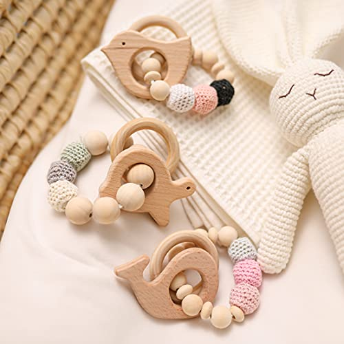 Baby Teether Bracelet 3pcs Crocheted Beads Coffre-fort en bois Baby & Toddler Toys Dentition Toys Nursing Baby Gift Teether Jouets