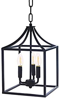Houzlamod Marden 3-Light Chandelier, Industrial Style Lighting for Entryway,Hallway and Dining Room - Matte Black Finish