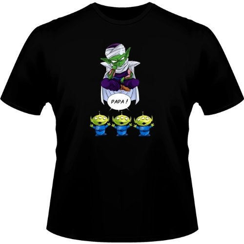 Okiwoki T-Shirt Noir Dragon Ball Z - Toy Story parodique Piccolo aka Satan Petit Coeur et Les Aliens : Papa !! (Parodie Dragon Ball Z - Toy Story)