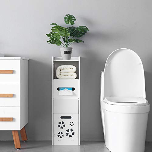 Henf Bathroom Cabinet Bathroom Storage Corner Floor Cabinet,Free Standing Toilet Tissue Storage Tower Shelf,Paper Holder Organizer W/Drawer and Single Shutter Door Garbage Can