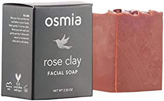 Osmia Rose Clay Facial Soap - Australian Pink Clay, Coconut Milk & Wild-Harvested Mango Butter Cleansing Bar for Face, Perfect for Dry, Mature & Sensitive Skin (2.25 oz)