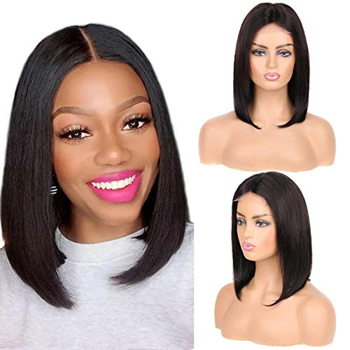 "Huarisi 12"" Bob Parrucche Donna Capelli Veri Corti Lisci Straight Hair Wigs 4x4 Lace Closure Bob Human Wig no Bang Lace Wig 10a Unprocessed Virgin Hair Brazilian Wig for Women Shoulder Length"