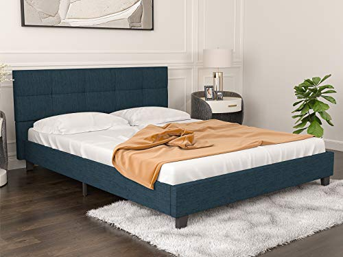 mecor Upholstered Linen Full Platform Bed Metal Frame/Mattress Foundation with Wood Slats/Tufted Square Stitched Fabric Headboard/Easy Assembly - Blue Cloth, Full