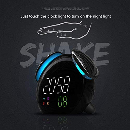 Alarm clock LED Wake Up Light Alarm Clock Night Light Bedroom lamp Colorful Change USB Multifunction Alarm Clock For Black-Black