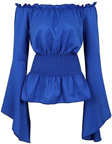 TWGDH Womens Gothic Renaissance Blouse Long Sleeve Off Shoulder Peasant Blouse Medieval Victorian Costume Shirt Boho Corset Tops XS-2X Black