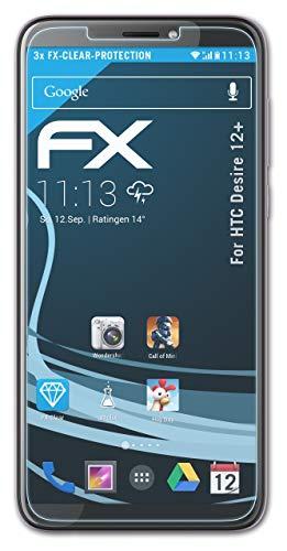 atFolix Schutzfolie kompatibel mit HTC Desire 12+ Folie, ultraklare FX Bildschirmschutzfolie (3X)