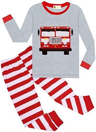 Little Boys Pajamas Kids Fire Truck 100 Cotton Pjs Toddler Boy Sleepwear 2 Piece Little Child product image