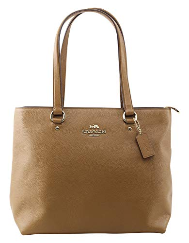COACH Pebbled Leather Bay Tote Light Saddle One Size