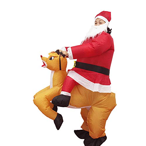 ELQ Inflatable Santa Costume, Santa Claus Ride On Reindeer Jumpsuit for Christmas Parties/Fancy Dress, for Person Height of 150-190 cm