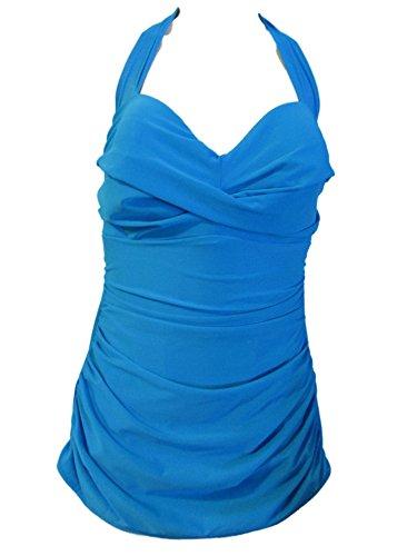 Miraclesuit Women's One Piece Swimsuit Halter Trimshaper (Turquoise Blue, 14)