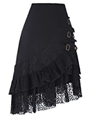 Belle Poque Ladies Punk Gothic A-Line Skirt 50s Retro Victorian Ruffled Fancy Cosplay Skirt Black M #4
