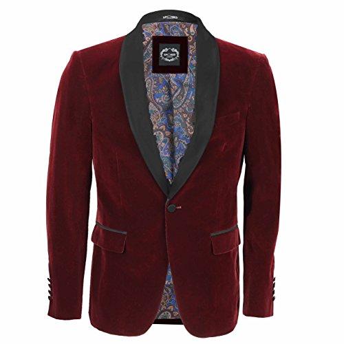 Xposed - Traje para hombre de terciopelo estilo vintage, 3 piezas, las piezas se venden por separado, color marrón Rojo Blazer-Tux-Maroon Chest UK 36 EU 46