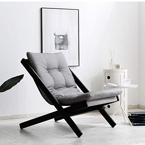 YXB Sofá plegable de madera maciza estilo nórdico silla de madera de haya (color: azul, tamaño: B), gris, C
