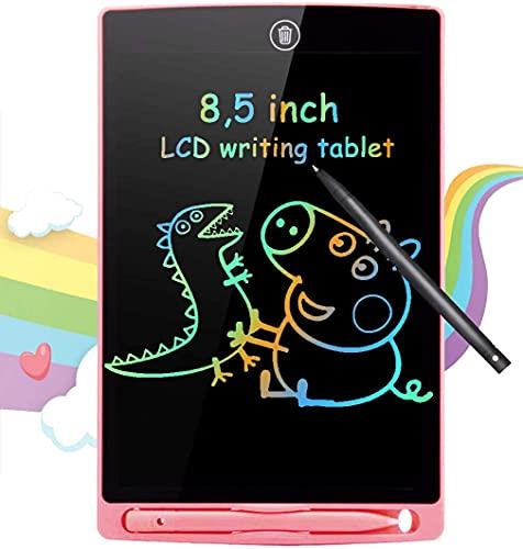 BIGFOX Tavoletta Grafica LCD Scrittura 8,5 con Display Colorato, Elettronica Lavagna Cancellabile Tavolo da Disegno Portatile con Scheda Elettronica con Pulsante Elimina(Rosa)