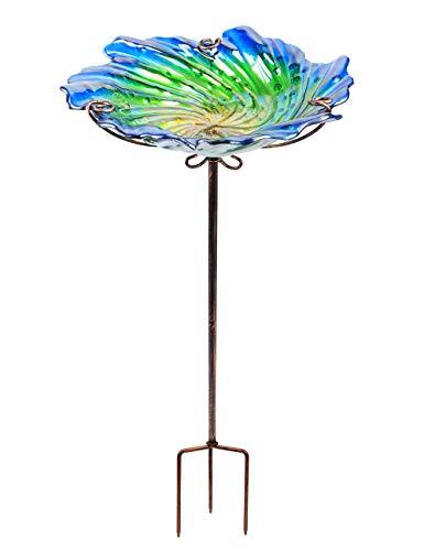 MUMTOP Vogeltränke aus Glas, 66 cm hoch, mit Metallpfahl, Grün