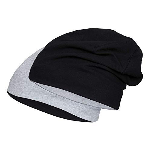 DoubleFive Jersey Cap Long Beanie Damen Herren Mütze aus Stretch Baumwolle Bicolor Black/Sports Grey XL/XXL