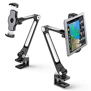 AboveTEK Sturdy iPad Holder Aluminum Long Arm iPad Tablet Mount 360° Swivel Tablet Stand & Phone Holder with Bracket Cradle Clamps 4 -11  Devices for Kitchen Bedside Office Desk Showcase Black