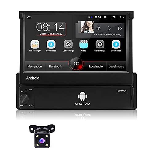 Autoradio Android 1 Din GPS con Bluetooth - Podofo 7 Pollici Estraibile Touchscreen Auto Radio 1G+16G GPS WiFi Bluetooth AUX 2 USB Radio FM Specchio Schermo + Telecamera Posteriore