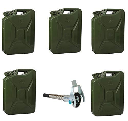 TRUTZHOLM 5X Metallkanister 20l Kanister Benzinkanister + 1x Ausgießer flexibel Natooliv