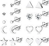 Milacolato 6-9 pares de Pendientes de Acero Quirúrgico Delicado Corazón Pequeño Luna y Estrella, Pendientes Minimalistas Geométricos con...