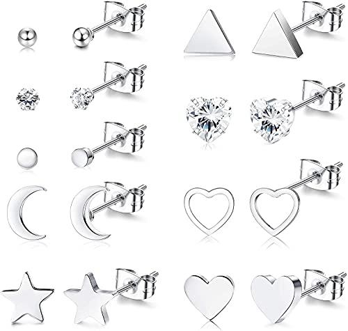 Milacolato 6-9 pares de Pendientes de Acero Quirúrgico Delicado Corazón Pequeño Luna y Estrella, Pendientes Minimalistas Geométricos con Circonita plateada, Pendientes de bola y triángulo para Mujer